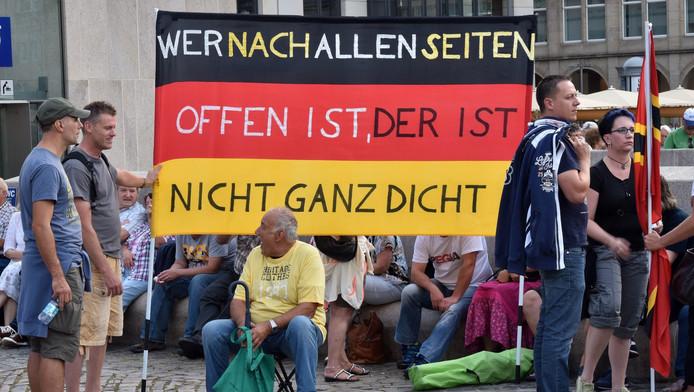 Een protest van Pegida maandag tegen de komst van asielzoekers.