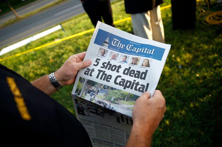 De editie van vandaag van de Capital Gazette, de krant die de toorn had gewekt van Jarrod Ramos. Beeld null