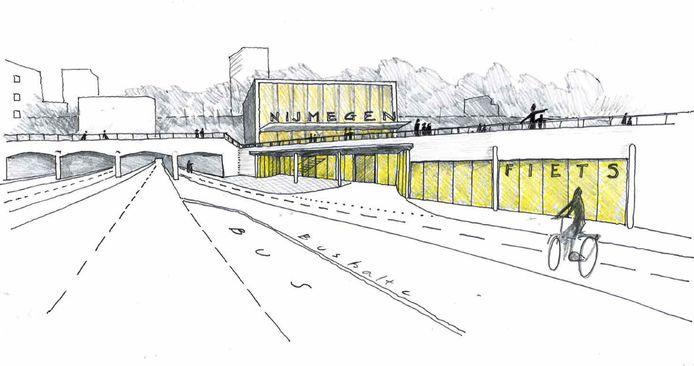 Schets van hoe ProRail, gemeente Nijmegen en provincie Gelderland de toekomst zien van het Nijmeegse stationsgebied. Hier de nieuwe entree bij de Tunnelweg, aan de westzijde van het station in Nijmegen-centrum.
