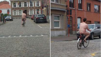 Naakte man fietst urenlang door centrum