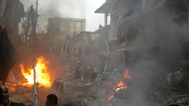 De wijk Daf al-Shok, waar de bom explodeerde. Beeld AFP