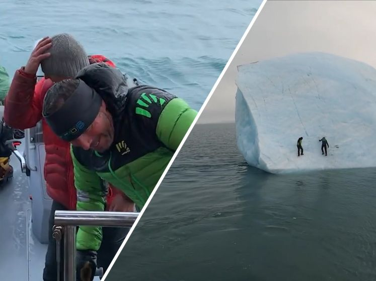 Klimmers ontsnappen op het nippertje aan omvallende ijsschots