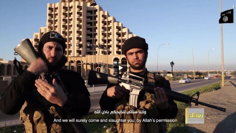 Een screenshot uit de nieuwe propagandavideo van Islamitische Staat (IS). Beeld Screenshot video