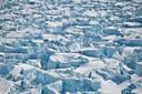 De Pine Island gletsjer op het onherbergzame Antarctica