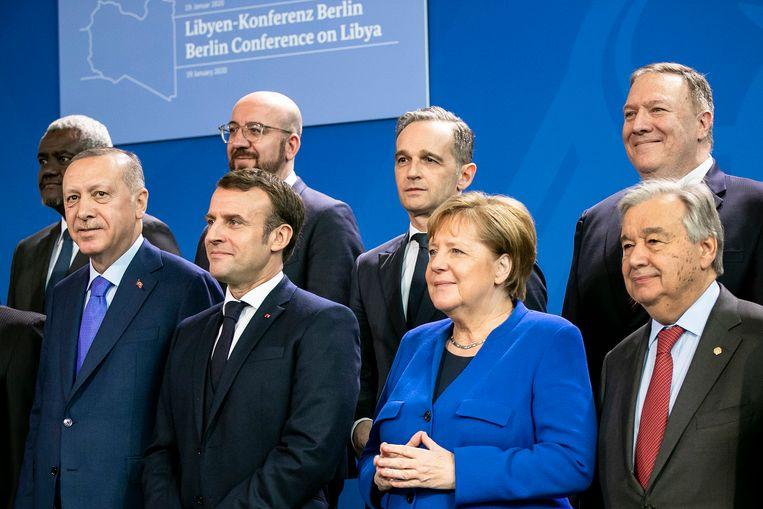 Aan de bijeenkomst in Berlijn namen zestien landen en organisaties deel, onder voorzitterschap van bondskanselier Angela Merkel en VN-secretaris-generaal António Guterres.  Beeld null