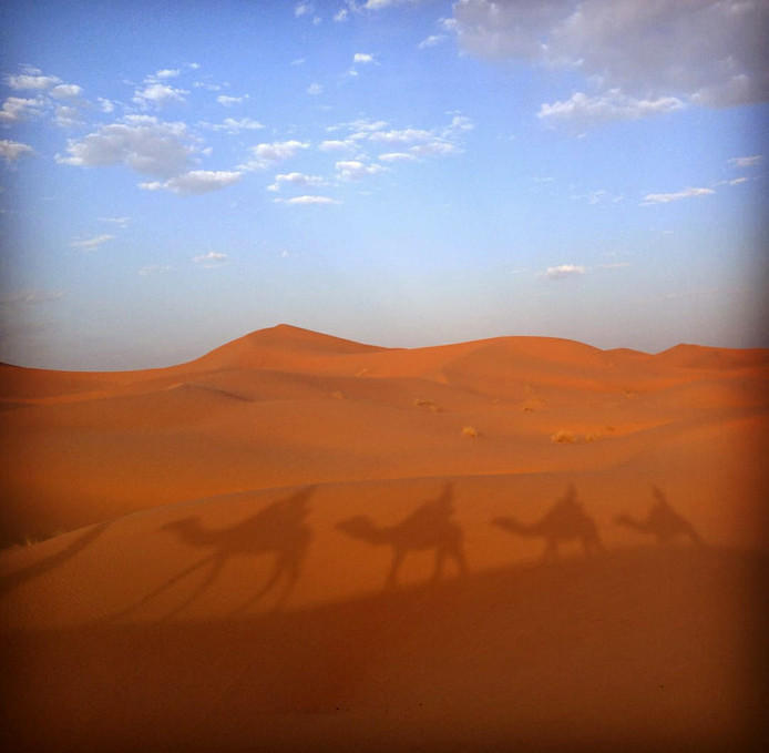 Genieten van een kameeltocht in Merzouga, Marokko. De zon speelt een schaduwspel.