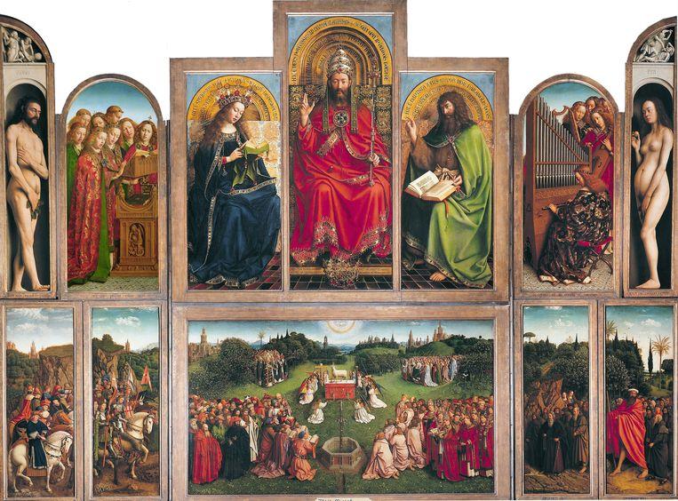 Jan van Eyck en Hubert van Eyck: De aanbidding van het Lam Gods (1432). Jensen en Jones blijven bijbelse associaties oproepen, en een verlangen naar zuiverheid, zoals dat afstraalt van dit Gentse altaarstuk.  Beeld