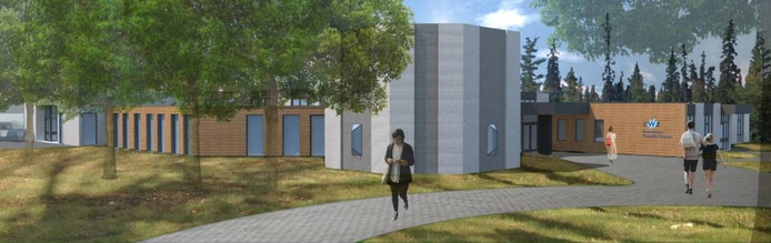 Impressie van de poliklinieken, nadat het voormalige rouwcentrum is verbouwd.