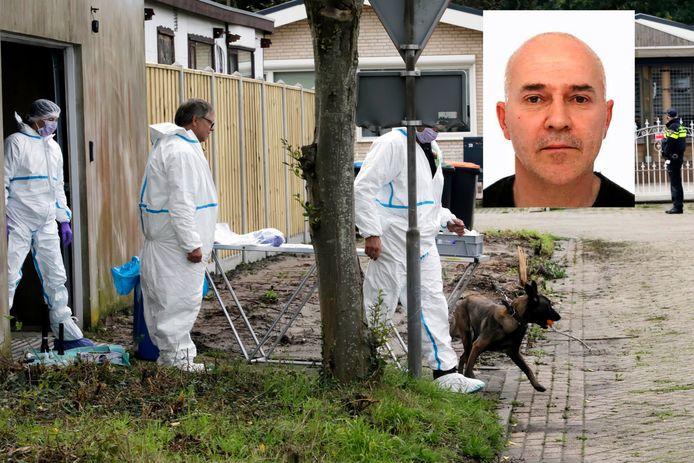 Politieonderzoek bij de loods op het woonwagencentrum in Steenbergen. Inzet: Johan van der Heyden