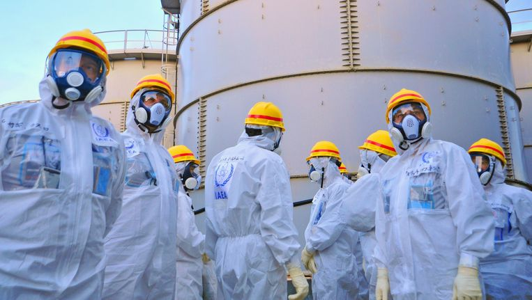 Internationale inspecteurs in november bij de kerncentrale Fukushima.