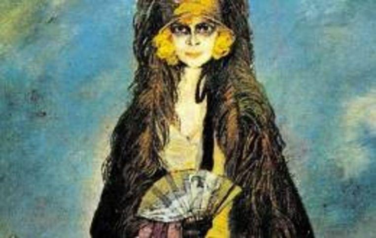 'Vrouw met waaier' van de Spaanse schilder Ignacio Zuluoga (Trouw) Beeld