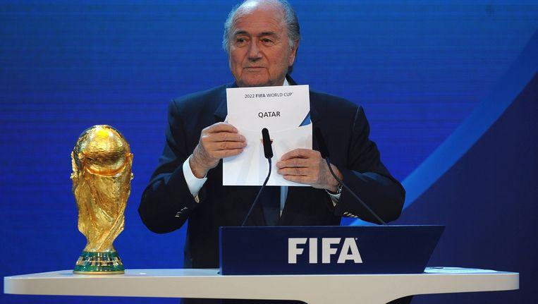 Archieffoto: Gewezen FIFA-voorzitter Sepp Blatter maakt bekend dat het WK in 2022 plaatsvindt in Qatar.