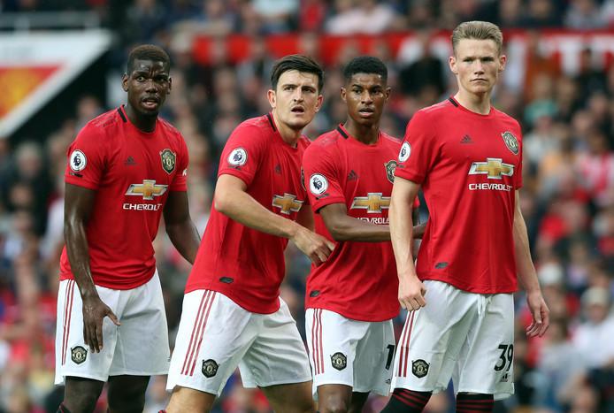 Paul Pogba, Harry Maguire, Marcus Rashford en Scott McTominay wachten op een corner tijdens Manchester United - Chelsea (4-0) afgelopen zondag.