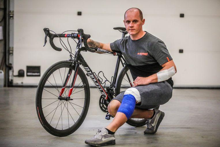 Jérôme Biets fietst geregeld als training bij het motorcrossen.