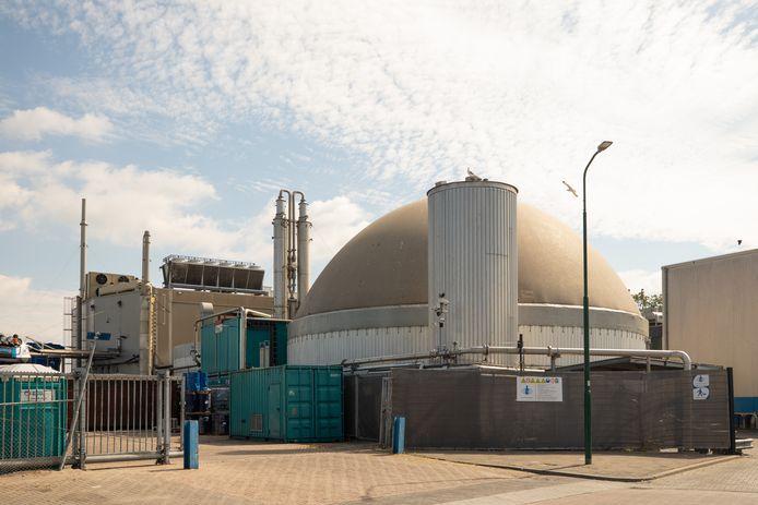 De biogascentrale van de firma Van de Groep aan de Haringweg in Bunschoten.