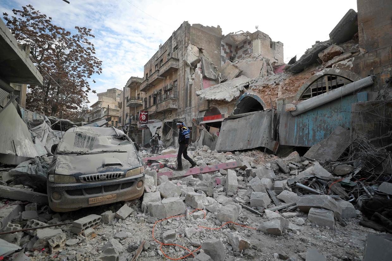 Januari 2020: de stad Ariha ten zuiden van Idlib na een bombardement door het Syrische regime.
