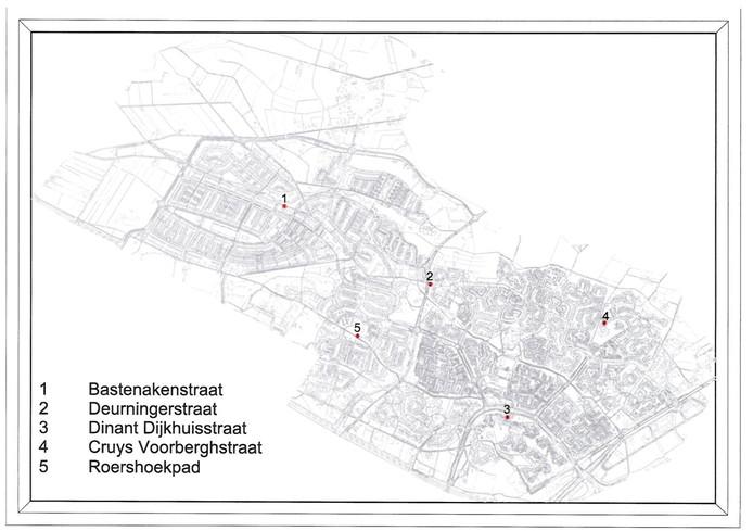 De locaties van de glasvezelhuisjes in Slangenbeek en de Hasseler Es.