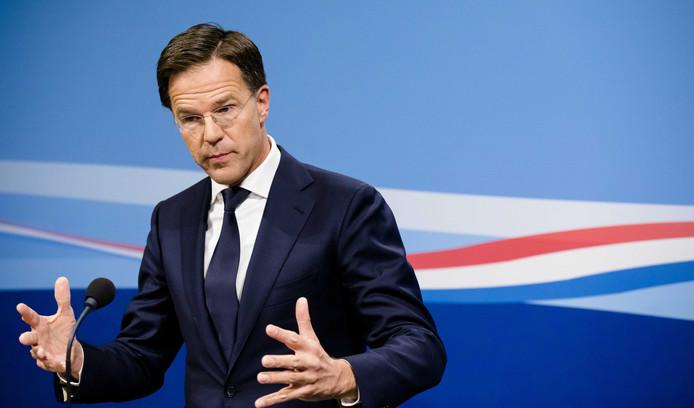 Premier Mark Rutte staat de pers te woord na afloop van de wekelijkse ministerraad.