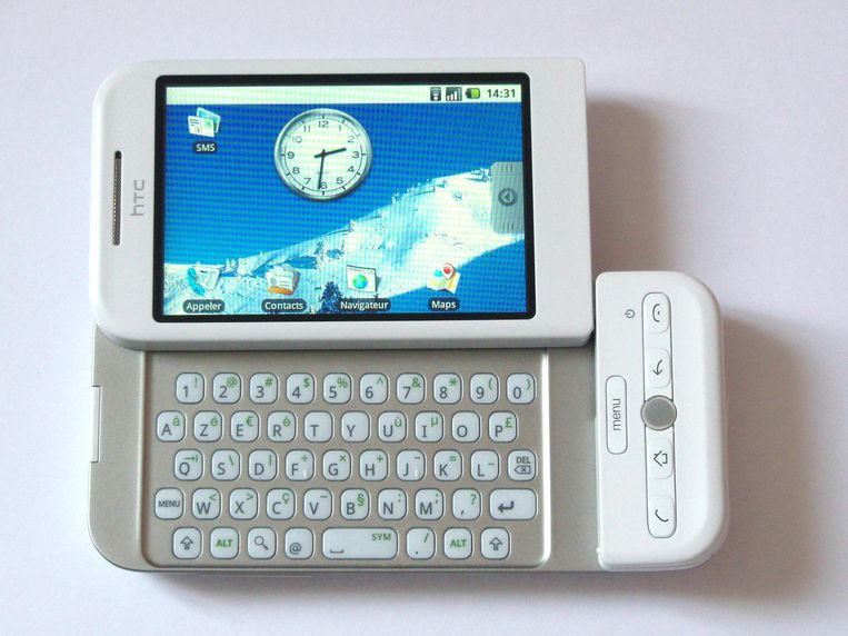 Het allereerste Android-toestel werd gemaakt door HTC: de Dream uit 2008 Beeld Wikipedia