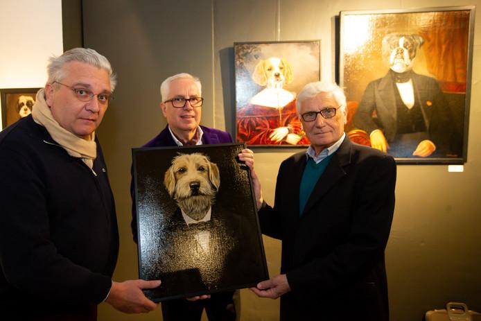Prins Laurent, Patrick Declerck en kunstenaar Thierry Poncelet.