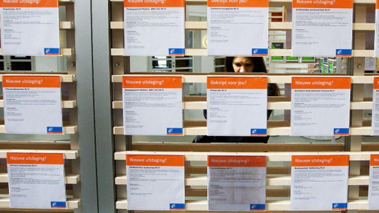 Een werkzoekende in een vestiging van UWV Werkbedrijf in Rotterdam. (ANP) Beeld