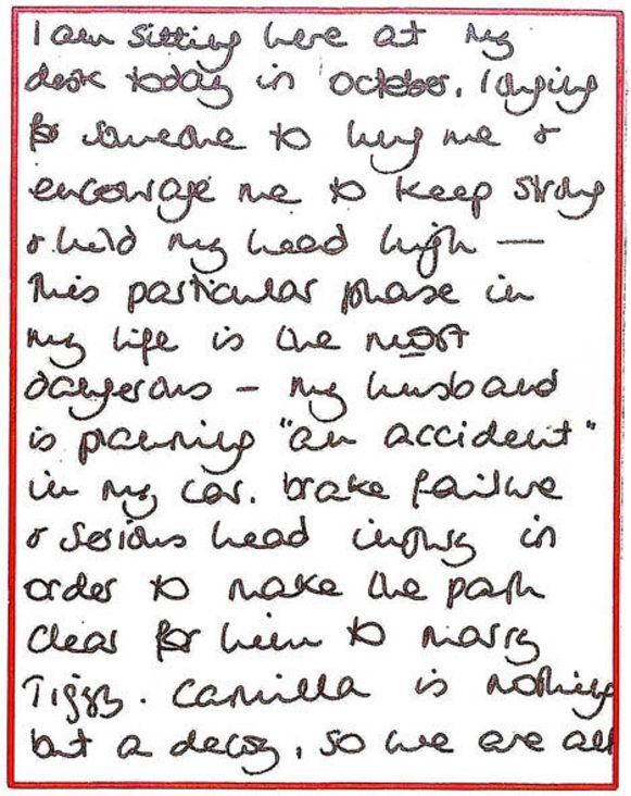 Een stukje uit de vermeende brief van prinses Diana.