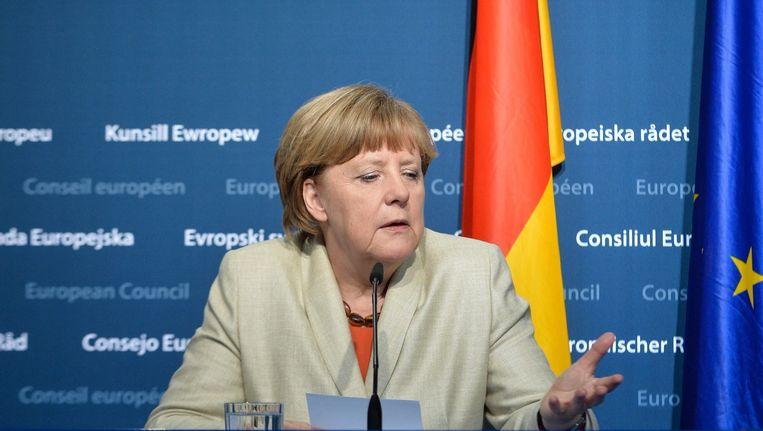 Bondskanselier Merkel na afloop van de EU-top in Brussel over de vluchtelingencrisis, 23 april. Beeld EPA