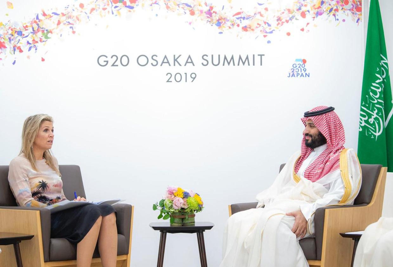 Maxima ontmoette Mohammed bin Salman tijdens de G20 in Osaka Japan Beeld CIC Saudi Arabia
