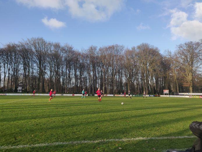 Loenermark en Twello strijden met de bomen op de achtergrond om de punten.