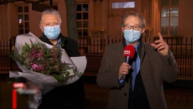 Dany Verstraeten verrast Wetstraaticoon Dirk Van den Bogaert (67) tijdens diens laatste live-interventie