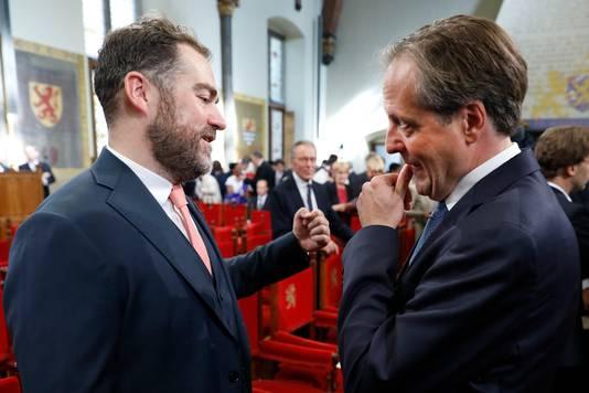 Klaas Dijkhoff (L) en Alexander Pechtold in de Ridderzaal op Prinsjesdag.