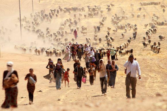 Vluchtende yezidi's onderweg naar de Syrisch-Iraakse grens.