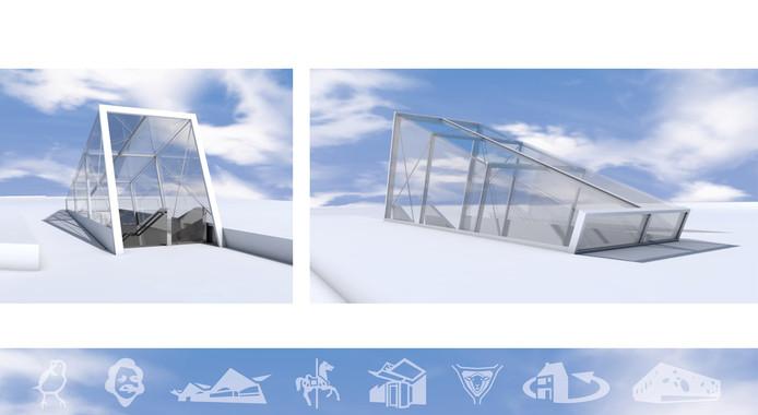 Ontwerp voor overkapping, op de glaswanden komen pictogrammen van het Tilburgs lettertype TilburgsAns.
