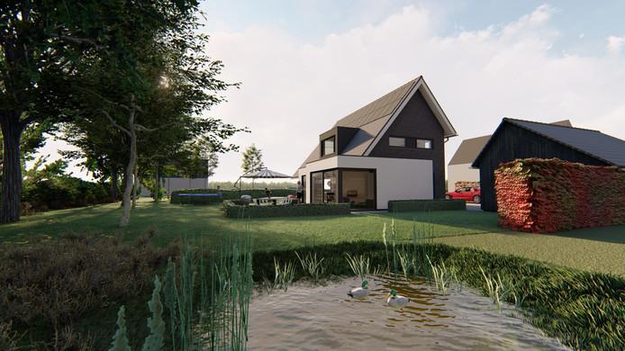 Artist impression van Marten Jansen voor de villawijk Hiethaarshoek in Wesepe.