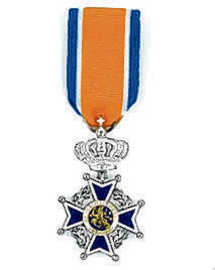 Het lintje dat hoort bij de onderscheiding Lid in de Orde van Oranje Nassau.