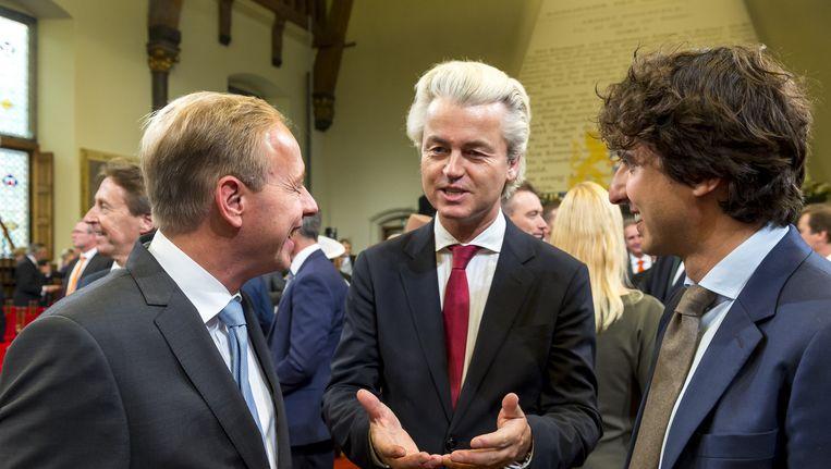Kees van der Staaij (SGP), Geert Wilders (PVV) en Jesse Klaver (GroenLinks) op Prinsjesdag in de Ridderzaal. Beeld anp