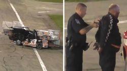 Veel gekker wordt een race niet: na de crash de wraak, weerwraak, vuistgevecht, politie met taser en arrestatie