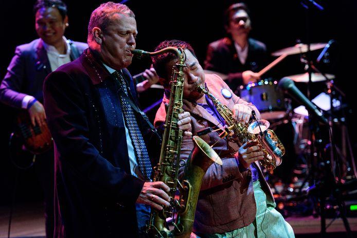 Alexander Beets (links) blies zelf op zijn sax tijdens een eerdere editie van Amersfoort Jazz.