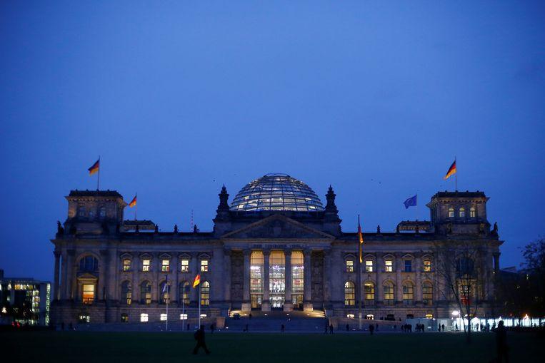 Het Rijksdag-gebouw in Berlijn, waar het parlement zetelt.