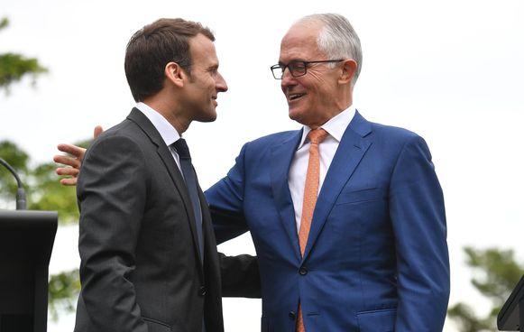President Emmanuel Macron (links) en Australisch premier Malcolm Turnbull (rechts) tijdens de persconferentie in Sydney.