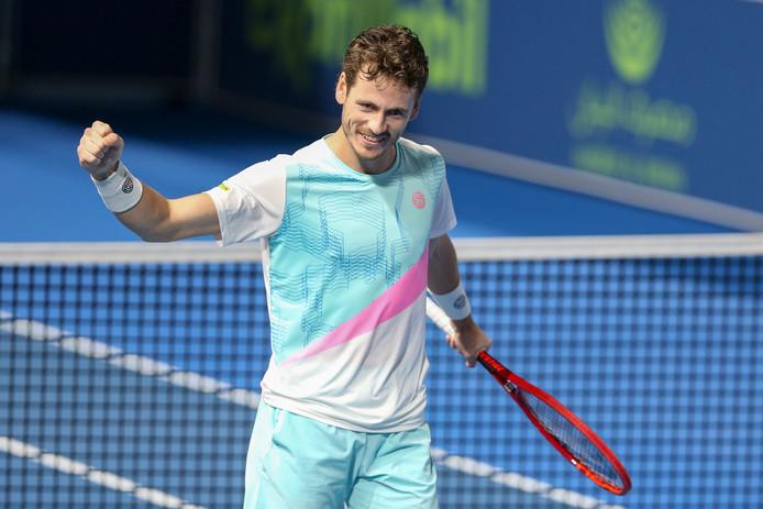 Wesley Koolhof straalt na zijn gewonnen dubbelfinale in Doha.