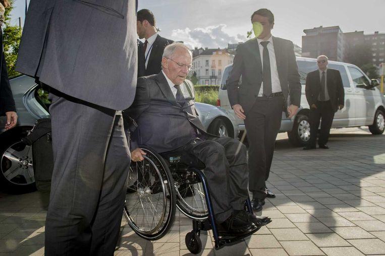 De Duitse minister van Financiën Wolfgang Schäuble in Brussel vooraf aan het overleg van de Eurogroep. Beeld anp