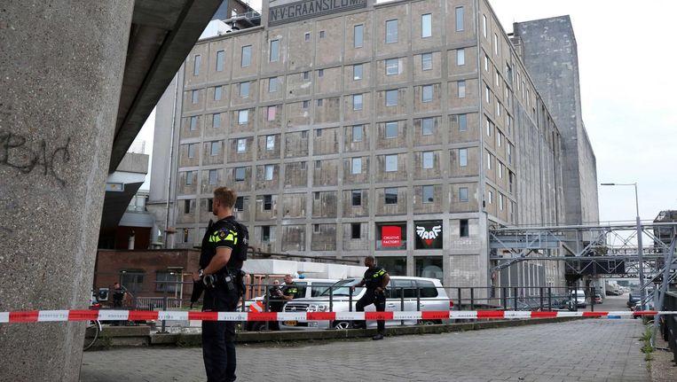 Politie bij de Maassilo in Rotterdam. Beeld anp