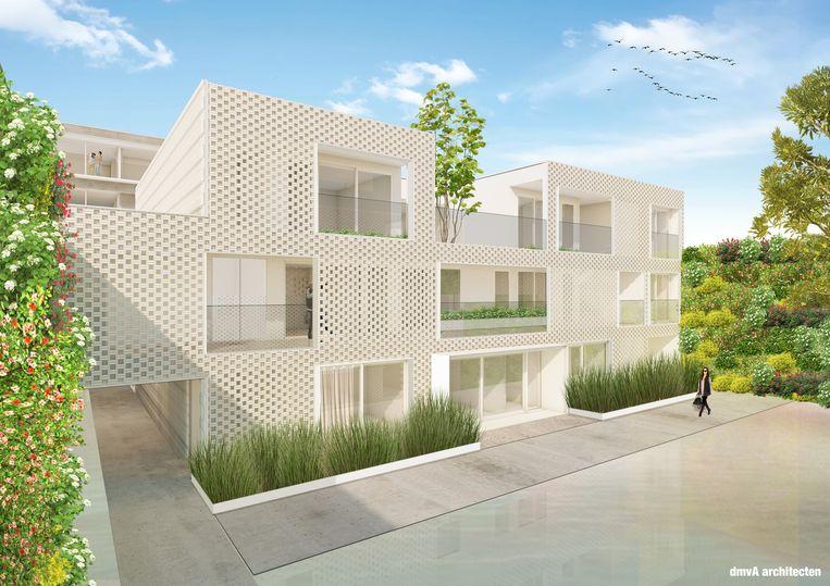 Een simulatiebeeld van een van de appartementsblokken van het woonproject Waterkant 12.