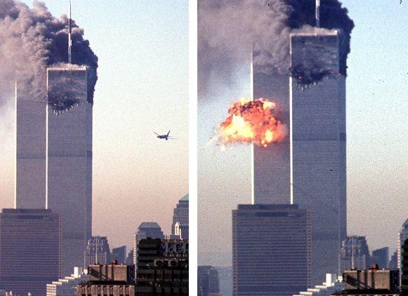 11 september 2001: het tweede gekaapte passagiersvliegtuig vliegt de tweede World Trade Center-toren in New York binnen. Niet veel later storten beide kantoorgebouwen in.