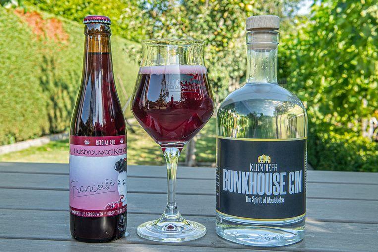 Het nieuwe fruitbier Francoise en de Bunkhouse Gin.