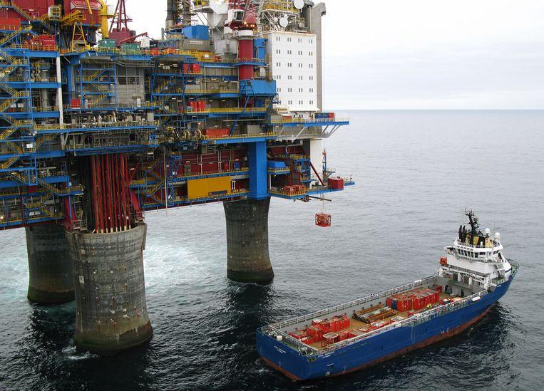 Boorplatform in de Noordzee.