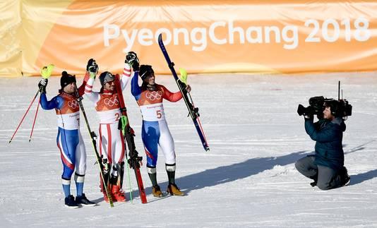 De top 3, vlnr: Alexis Pinturault, Marcel Hirscher en Victor Muffat-Jeandet.