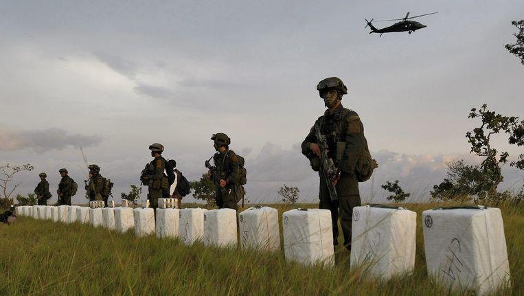Een grote anti-drugsoperatie in Colombia, eerder dit jaar. Beeld EPA