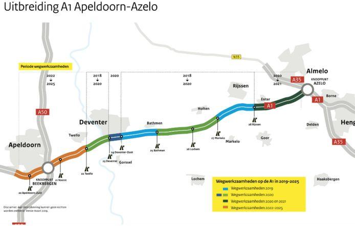 De planning van werkzaamheden aan extra rijstrook van de A1 tussen Apeldoorn en Almelo tot en met 2025.